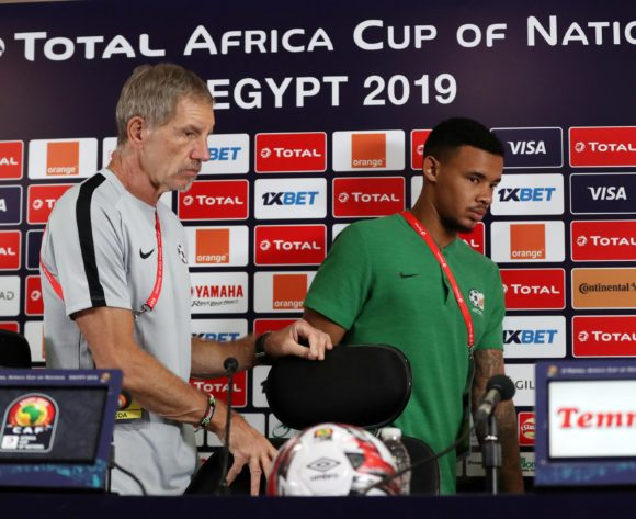 Stuart Baxter, head coach of South Africa and Ronwen Williams of South Africa during the 2019 Africa Cup of Nations Finals, quarter-finals South Africa press conference at Cairo International Stadium, Cairo, Egypt on 09 July 2019 ©Samuel Shivambu/BackpagePix