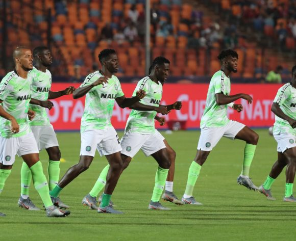 Nigeria players warm up during the 2019 Africa Cup of Nations Finals Quarterfinal football match between Nigeria and South Africa at the Cairo International Stadium, Cairo, Egypt on 10 July 2019 ©Gavin Barker/BackpagePix