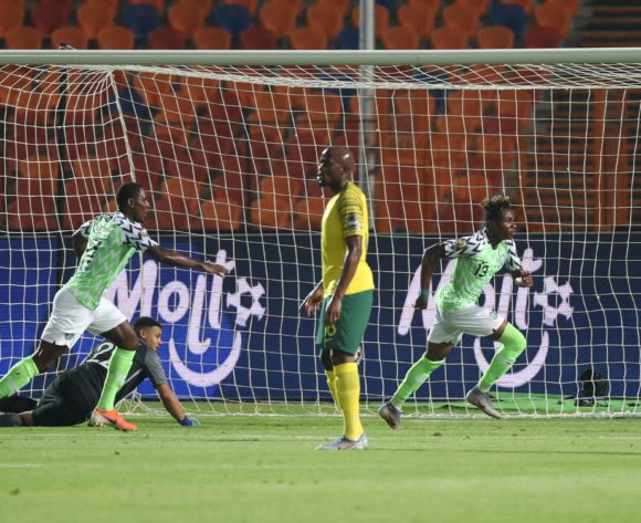 Samuel Chukwueze of Nigeria scores past Ronwen Williams of South Africa during the 2019 Africa Cup of Nations Finals Quarterfinal football match between Nigeria and South Africa at the Cairo International Stadium, Cairo, Egypt on 10 July 2019 ©Gavin Barker/BackpagePix