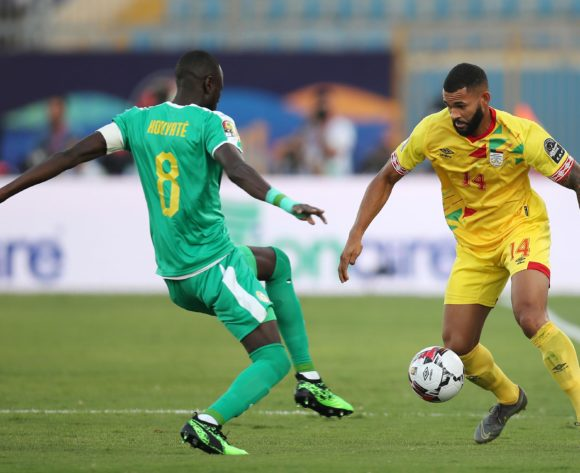 Cebio Soukou of Benin challenged by Cheikhou Kouyate of Senegal during the 2019 Africa Cup of Nations Quarterfinals match between Senegal and Benin at the 30 June Stadium, Cairo on the 10 July 2019 ©Muzi Ntombela/BackpagePix
