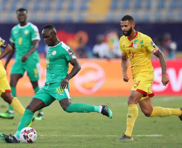Sadio Mane of Senegal  challenged by Cebio Soukou of Benin during the 2019 Africa Cup of Nations Quarterfinals match between Senegal and Benin at the 30 June Stadium, Cairo on the 10 July 2019 ©Muzi Ntombela/BackpagePix
