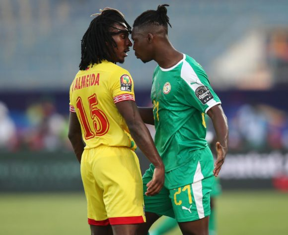 Lamine Gassama of Senegal (r) argues with Sessi Dalmeida of Benin during the 2019 Africa Cup of Nations Quarterfinals match between Senegal and Benin at the 30 June Stadium, Cairo on the 10 July 2019 ©Muzi Ntombela/BackpagePix