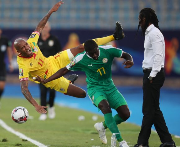 Emmanuelle Imorou of Benin fouled by Papa Alioune Ndiaye of Senegal during the 2019 Africa Cup of Nations Quarterfinals match between Senegal and Benin at the 30 June Stadium, Cairo on the 10 July 2019 ©Muzi Ntombela/BackpagePix