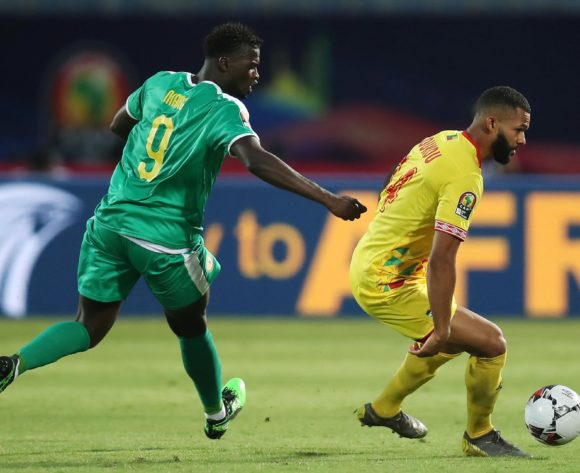 Cebio Soukou of Benin challenged by Mbaye Hamady Niang of Senegal during the 2019 Africa Cup of Nations Quarterfinals match between Senegal and Benin at the 30 June Stadium, Cairo on the 10 July 2019 ©Muzi Ntombela/BackpagePix