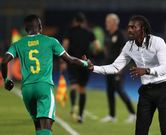 Idrissa Gana Gueye of Senegal celebrates goal with Aliou Cisse, head coach of Senegal during the 2019 Africa Cup of Nations Quarterfinals match between Senegal and Benin at the 30 June Stadium, Cairo on the 10 July 2019 ©Muzi Ntombela/BackpagePix