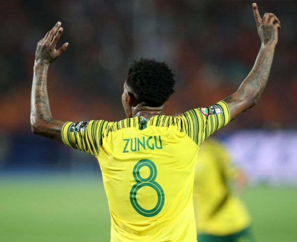 Bongani Zungu of South Africa celebrates goal during the 2019 Africa Cup of Nations Quarterfinals match between Nigeria and South Africa at the Cairo International Stadium, Cairo on the 10 July 2019 ©Muzi Ntombela/BackpagePix