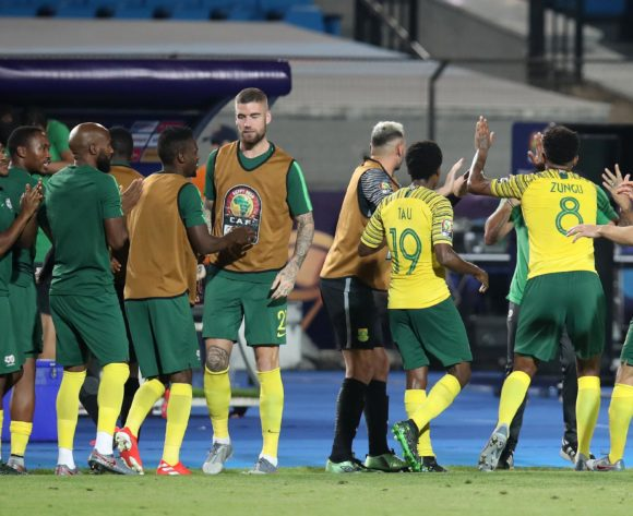 Bongani Zungu of South Africa (8) celebrates goal with teammates during the 2019 Africa Cup of Nations Quarterfinals match between Nigeria and South Africa at the Cairo International Stadium, Cairo on the 10 July 2019 ©Muzi Ntombela/BackpagePix