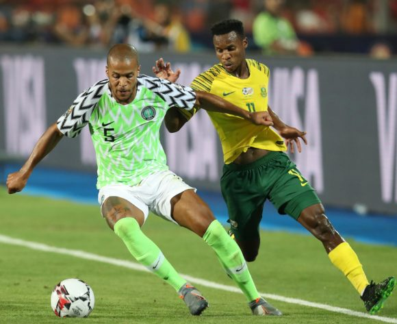 William Paul Ekong of Nigeria challenged by Themba Zwane of South Africa during the 2019 Africa Cup of Nations Quarterfinals match between Nigeria and South Africa at the Cairo International Stadium, Cairo on the 10 July 2019 ©Muzi Ntombela/BackpagePix