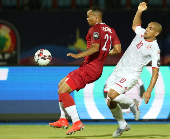 Thomas Fontaine of Madagascar challenged by Wahbi Khazri of Tunisia during the 2019 Africa Cup of Nations Quarterfinals match between Madagascar and Tunisia at the Al Salam Stadium, Cairo on the 10 July 2019 ©Muzi Ntombela/BackpagePix