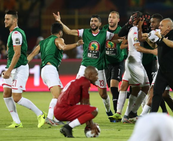 Tunisia players celebrates victory during the 2019 Africa Cup of Nations Quarterfinals match between Madagascar and Tunisia at the Al Salam Stadium, Cairo on the 10 July 2019 ©Muzi Ntombela/BackpagePix