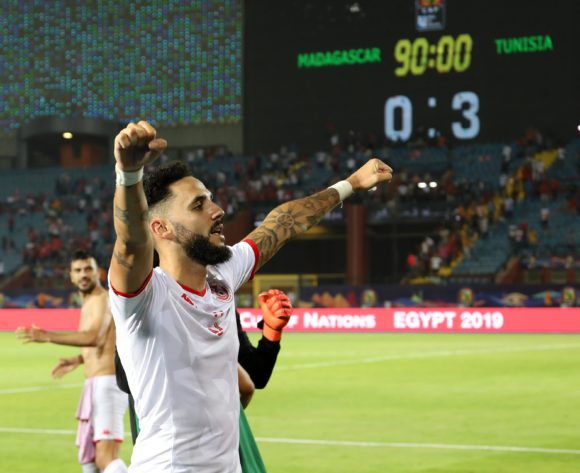 Dylan Bronn of Tunisia celebrates victory  during the 2019 Africa Cup of Nations Quarterfinals match between Madagascar and Tunisia at the Al Salam Stadium, Cairo on the 10 July 2019 ©Muzi Ntombela/BackpagePix
