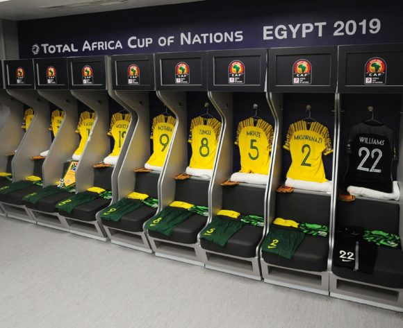 South Africa dressing room before the 2019 Africa Cup of Nations Finals quarterfinal game between Nigeria and South Africa at Cairo International Stadium in Egypt on 10 July 2019 © Ryan Wilkisky/BackpagePix