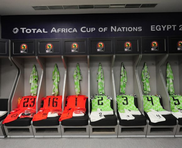 Nigeria dressing room before the 2019 Africa Cup of Nations Finals quarterfinal game between Nigeria and South Africa at Cairo International Stadium in Egypt on 10 July 2019 © Ryan Wilkisky/BackpagePix