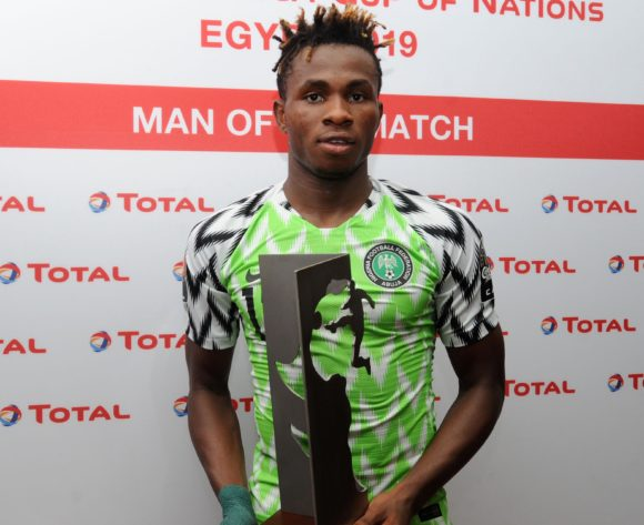 Samuel Chukwueze of Nigeria wins Total Man of the Match Award after the 2019 Africa Cup of Nations Finals quarterfinal game between Nigeria and South Africa at Cairo International Stadium in Egypt on 10 July 2019 © Ryan Wilkisky/BackpagePix