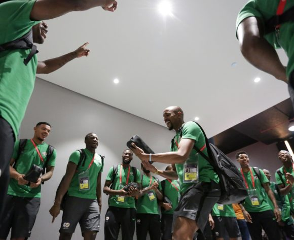 Tiyani Mabunda of South Africa leads players singing on team arrivals during the 2019 Africa Cup of Nations Finals, quarterfinals match between Nigeria and South Africa at Cairo International Stadium, Cairo, Egypt on 10 July 2019 ©Samuel Shivambu/BackpagePix