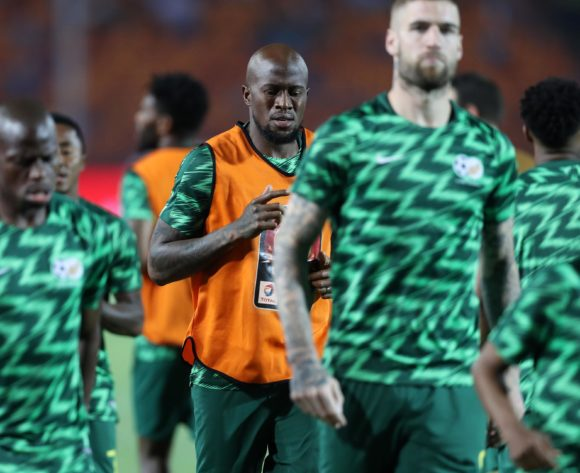 Sifiso Hlanti of South Africa warm up during the 2019 Africa Cup of Nations Finals, quarterfinals match between Nigeria and South Africa at Cairo International Stadium, Cairo, Egypt on 10 July 2019 ©Samuel Shivambu/BackpagePix