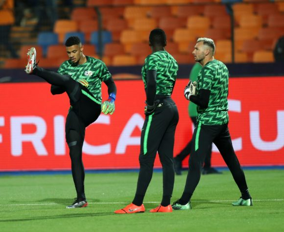 Ronwen Williams, Bruce Bvuma and Darren Keet of South Africa warm up during the 2019 Africa Cup of Nations Finals, quarterfinals match between Nigeria and South Africa at Cairo International Stadium, Cairo, Egypt on 10 July 2019 ©Samuel Shivambu/BackpagePix