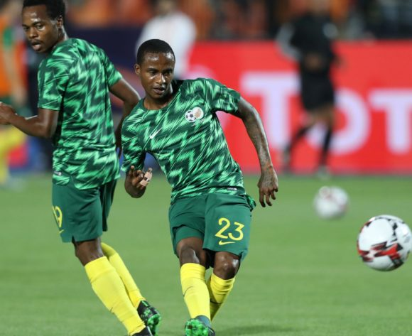 Percy Tau and Thembinkosi Lorch of South Africa warm up during the 2019 Africa Cup of Nations Finals, quarterfinals match between Nigeria and South Africa at Cairo International Stadium, Cairo, Egypt on 10 July 2019 ©Samuel Shivambu/BackpagePix