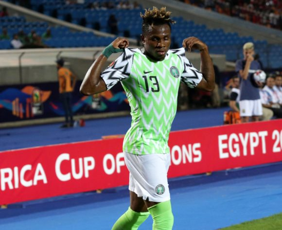 Samuel Chukwueze of Nigeria celebrates goal during the 2019 Africa Cup of Nations Finals, quarterfinals match between Nigeria and South Africa at Cairo International Stadium, Cairo, Egypt on 10 July 2019 ©Samuel Shivambu/BackpagePix