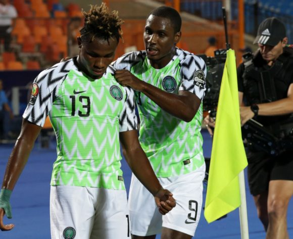 Samuel Chukwueze celebrates goal with Odion Jude Ighalo of Nigeria during the 2019 Africa Cup of Nations Finals, quarterfinals match between Nigeria and South Africa at Cairo International Stadium, Cairo, Egypt on 10 July 2019 ©Samuel Shivambu/BackpagePix