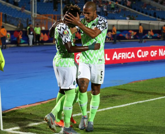 Samuel Chukwueze celebrates goal with William Paul Ekong of Nigeria during the 2019 Africa Cup of Nations Finals, quarterfinals match between Nigeria and South Africa at Cairo International Stadium, Cairo, Egypt on 10 July 2019 ©Samuel Shivambu/BackpagePix