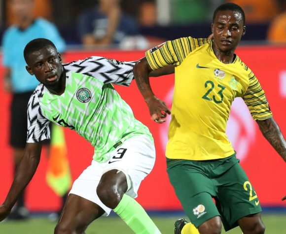 Thembinkosi Lorch of South Africa challenged by Jamilu Collins of Nigeria during the 2019 Africa Cup of Nations Finals, quarterfinals match between Nigeria and South Africa at Cairo International Stadium, Cairo, Egypt on 10 July 2019 ©Samuel Shivambu/BackpagePix
