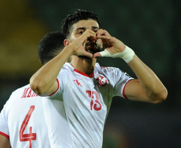 Ferjani Sassi of Tunisia celebrates his goal during the Africa Cup of Nations 2019 Finals quarterfinal game between Madagascar and Tunisia at Al Salam Stadium in Cairo, Egypt on 11 July 2019 © Ryan Wilkisky/BackpagePix