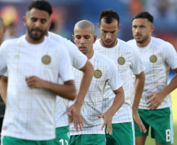 Sofiane Feghouli (c) of Algeria warm up during the 2019 Africa Cup of Nations Finals, quarterfinals match between Ivory Coast and Algeria at Suez Stadium, Suez, Egypt on 11 July 2019 ©Samuel Shivambu/BackpagePix