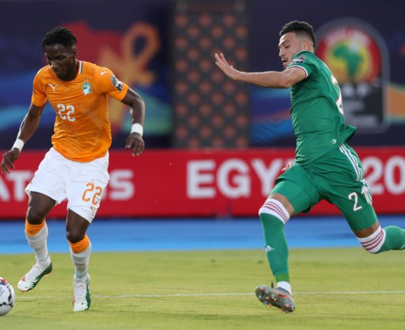 Bagayoko Mamadou of Ivory Coast challenged by Aissa Mandi of Algeria during the 2019 Africa Cup of Nations Finals, quarterfinals match between Ivory Coast and Algeria at Suez Stadium, Suez, Egypt on 11 July 2019 ©Samuel Shivambu/BackpagePix