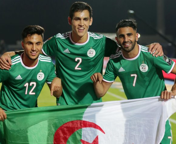 Adam Ounas, Aissa Mandi and Riyad Mahrez of Algeria celebrates a victory during the 2019 Africa Cup of Nations Finals, quarterfinals match between Ivory Coast and Algeria at Suez Stadium, Suez, Egypt on 11 July 2019 ©Samuel Shivambu/BackpagePix
