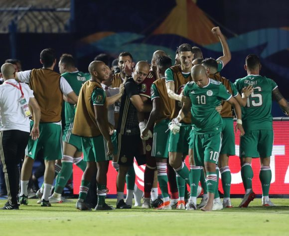 Algeria players celebrates a victory during the 2019 Africa Cup of Nations Finals, quarterfinals match between Ivory Coast and Algeria at Suez Stadium, Suez, Egypt on 11 July 2019 ©Samuel Shivambu/BackpagePix