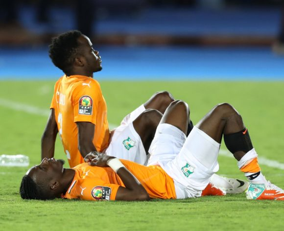 Wonlo Coulibaly and Bagayoko Mamadou of Ivory Coast dejected during the 2019 Africa Cup of Nations Finals, quarterfinals match between Ivory Coast and Algeria at Suez Stadium, Suez, Egypt on 11 July 2019 ©Samuel Shivambu/BackpagePix