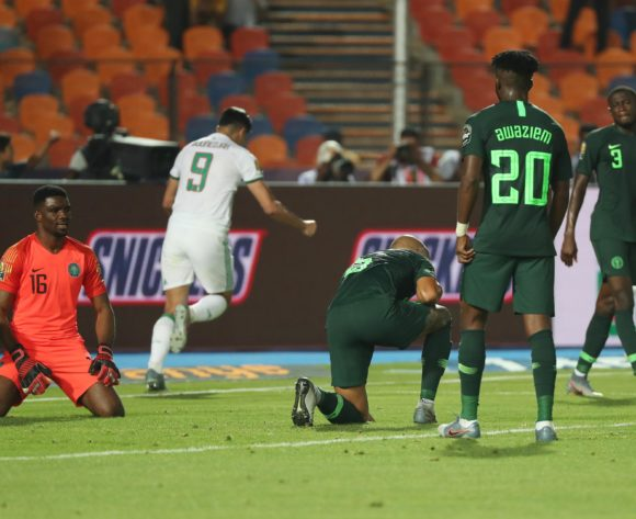 William Paul Ekong of Nigeria (c) reacts in disappointment after scoring an own goal during the 2019 Africa Cup of Nations Finals Semifinal football match between Algeria and Nigeria at the Cairo International Stadium, Cairo, Egypt on 14 July 2019 ©Gavin Barker/BackpagePix