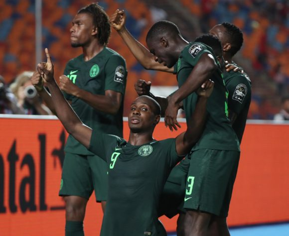 Odion Jude Ighalo of Nigeria (c) celebrates goal during the 2019 Africa Cup of Nations Finals Semifinal football match between Algeria and Nigeria at the Cairo International Stadium, Cairo, Egypt on 14 July 2019 ©Gavin Barker/BackpagePix