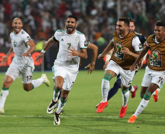 Riyad Mahrez of Algeria celebrates goal during the 2019 Africa Cup of Nations Finals Semifinal football match between Algeria and Nigeria at the Cairo International Stadium, Cairo, Egypt on 14 July 2019 ©Gavin Barker/BackpagePix