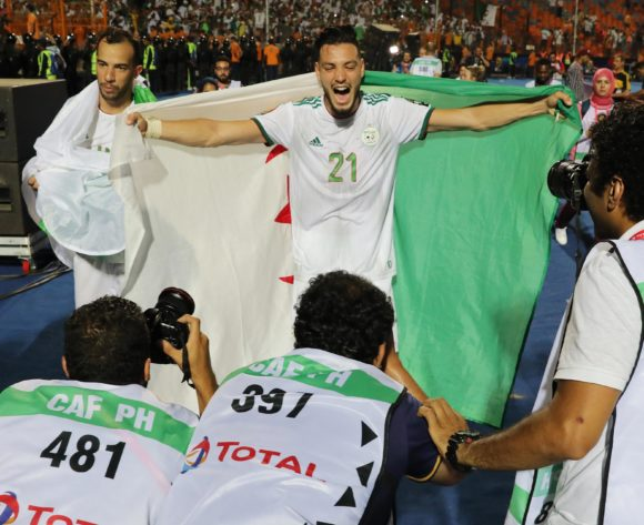 Rami Bensebaini of Algeria celebrates victory during the 2019 Africa Cup of Nations Finals Semifinal football match between Algeria and Nigeria at the Cairo International Stadium, Cairo, Egypt on 14 July 2019 ©Gavin Barker/BackpagePix