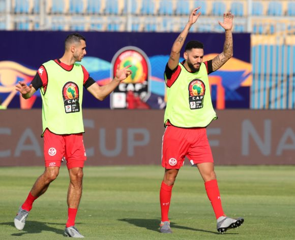 Tunisia players warming up during the 2019 Africa Cup of Nations Semifinals match between Senegal and Tunisia at the 30 June Stadium, Cairo on the 14 July 2019 ©Muzi Ntombela/BackpagePix