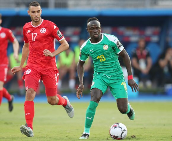 Sadio Mane of Senegal challenged by Ellyes Joris Skhiri of Tunisia during the 2019 Africa Cup of Nations Semifinals match between Senegal and Tunisia at the 30 June Stadium, Cairo on the 14 July 2019 ©Muzi Ntombela/BackpagePix