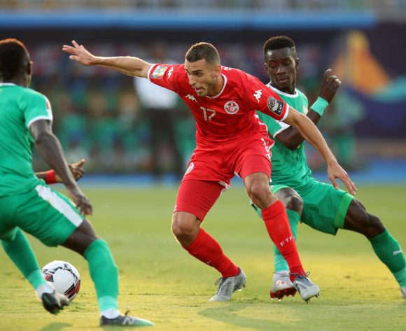 Ellyes Joris Skhiri of Tunisia challenged by Sadio Mane and Idrissa Gana Gueye of Senegal during the 2019 Africa Cup of Nations Semifinals match between Senegal and Tunisia at the 30 June Stadium, Cairo on the 14 July 2019 ©Muzi Ntombela/BackpagePix