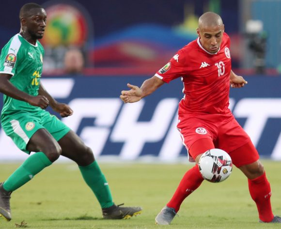 Wahbi Khazri of Tunisia challenged by Youssouf Sabaly of Senegal during the 2019 Africa Cup of Nations Semifinals match between Senegal and Tunisia at the 30 June Stadium, Cairo on the 14 July 2019 ©Muzi Ntombela/BackpagePix