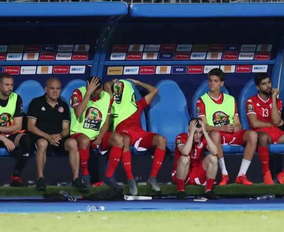 Tunisia players dejected during the 2019 Africa Cup of Nations Semifinals match between Senegal and Tunisia at the 30 June Stadium, Cairo on the 14 July 2019 ©Muzi Ntombela/BackpagePix