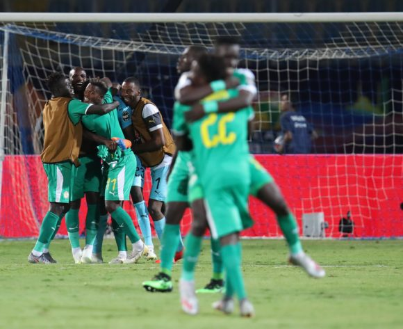 Senegal players celebrates after victory during the 2019 Africa Cup of Nations Semifinals match between Senegal and Tunisia at the 30 June Stadium, Cairo on the 14 July 2019 ©Muzi Ntombela/BackpagePix