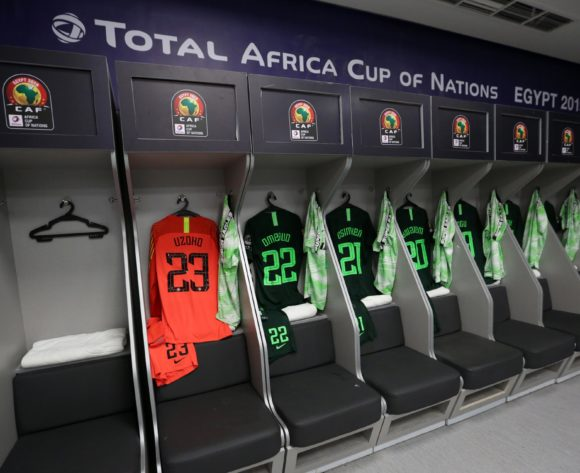 Nigeria changeroom general view during the 2019 Africa Cup of Nations Finals, Semifinals match between Algeria and Nigeria at Cairo International Stadium, Cairo, Egypt on 14 July 2019 ©Samuel Shivambu/BackpagePix
