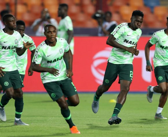 Josiah Kenneth Omeruo of Nigeria leads a warm up during the 2019 Africa Cup of Nations Finals, Semifinals match between Algeria and Nigeria at Cairo International Stadium, Cairo, Egypt on 14 July 2019 ©Samuel Shivambu/BackpagePix