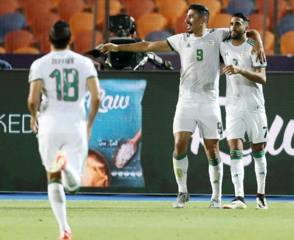 Riyad Mahrez of Algeria celebrates goal with teammates during the 2019 Africa Cup of Nations Finals, Semifinals match between Algeria and Nigeria at Cairo International Stadium, Cairo, Egypt on 14 July 2019 ©Samuel Shivambu/BackpagePix