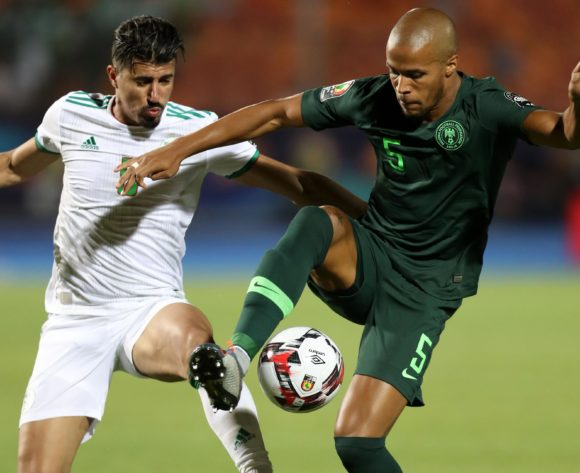 William Paul Ekong of Nigeria challenged by Baghdad Bounedjah of Algeria during the 2019 Africa Cup of Nations Finals, Semifinals match between Algeria and Nigeria at Cairo International Stadium, Cairo, Egypt on 14 July 2019 ©Samuel Shivambu/BackpagePix