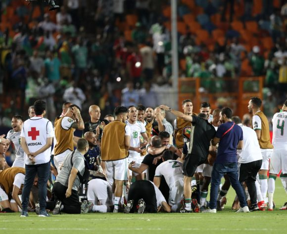 Algeria players celebrates a victory during the 2019 Africa Cup of Nations Finals, Semifinals match between Algeria and Nigeria at Cairo International Stadium, Cairo, Egypt on 14 July 2019 ©Samuel Shivambu/BackpagePix