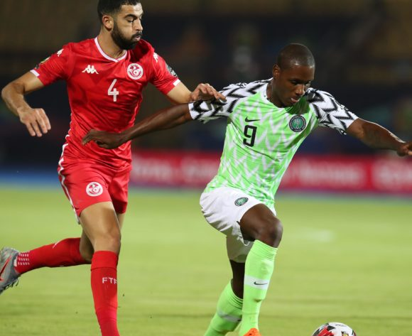 Odion Jude Ighalo of Nigeria challenged by Yassine Merriah of Tunisia during the 2019 Africa Cup of Nations 3rd and 4th Place match between Tunisia and Nigeria at the Al Salam Stadium, Cairo on the 17 July 2019 ©Muzi Ntombela/BackpagePix