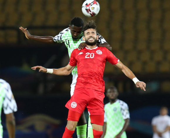 Wilfred Ndidi of Nigeria challenged by Ghaylen Chaaleli of Tunisia during the 2019 Africa Cup of Nations 3rd and 4th Place match between Tunisia and Nigeria at the Al Salam Stadium, Cairo on the 17 July 2019 ©Muzi Ntombela/BackpagePix