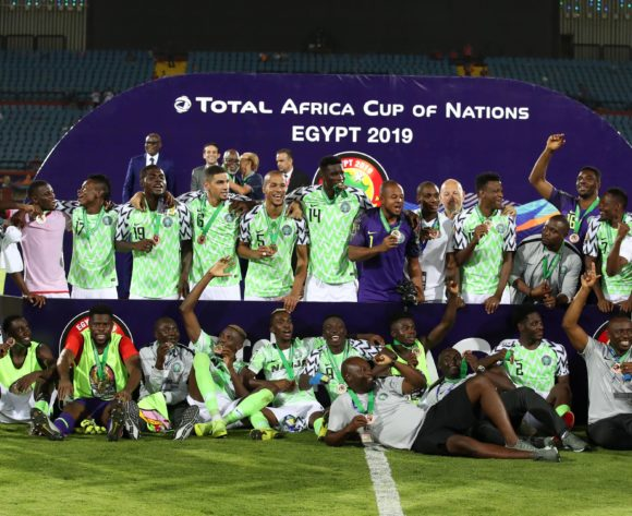 Nigeria team celebrates lifting the trophy during the 2019 Africa Cup of Nations 3rd and 4th Place match between Tunisia and Nigeria at the Al Salam Stadium, Cairo on the 17 July 2019 ©Muzi Ntombela/BackpagePix